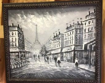 """Caroline Burnett Signed Paris Street Scene 30"""" X 24"""""""