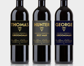 Will You Be My Best Man? Groomsman?, Wine Label Proposal, Customized Wine Bottle Labels - Black & Gold, Navy or Gray - Printable PDF