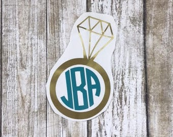 Engagement Ring Decal / wedding decal / engagement sticker / diamond ring decal / diamond monogram / monogram decal / monogram sticker