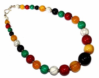 """20"""" whimsical Resin Beads Necklace / Multi Color Necklace / Handmade Beaded Necklace / Bohemian, Boho Chic / Tribal / Fashion Jewelry"""