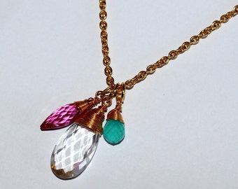 22k Gold VermeilL Rock Crystal Quartz, Pink Quartz Rice & Aqua Chalcedony, Wire Wrapped Gemstone Necklace ALI39