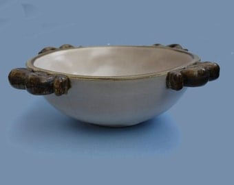 "A large Bourne Denby ""Tyrolean Ware"" Bowl by Alice Teichner, circa 1937."