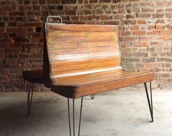 Stunning Mid Century Chair Bench Seat Industrial Loft Style Dutch Tram Original