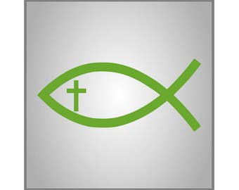 Christian Fish Decal, Fish with Cross Decal, Car Decal, Laptop Decal, Yeti Decal, Sticker