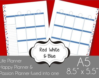 Red White & Blue A5 Printable Planner Pages Week spread vertical box style Sunday Start