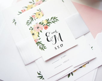 Floral Wedding Invitation Package, Floral Wedding Invitation Kit, Summer Wedding Invite, Spring Wedding Invitation - SAMPLE SET