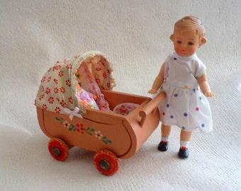 Vintage / Antique Doll carriage / wood / approx. 1950 / Germany