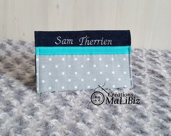 Protects health / vaccination record - gray black white spotted (personalized)