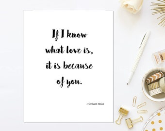 Love Note Printable Valentine Greeting Card- Foldable - Hermann Hesse Love Quote - Black, Gold, Silver, Red - DIY Instant Digital Download