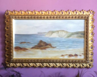 Vintage Gilt Framed Early 1900's California Seascape Unsigned Oil on Canvas
