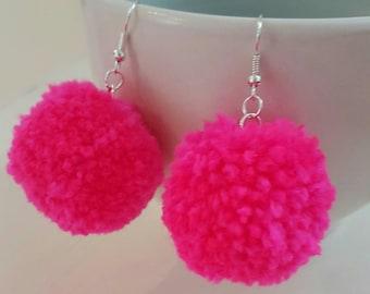 pompom earrings, pom earrings, pom-pom earrings, pom pom earrings, gift for her, jewelry, dangle earrings, dangle pom poms, rainbow