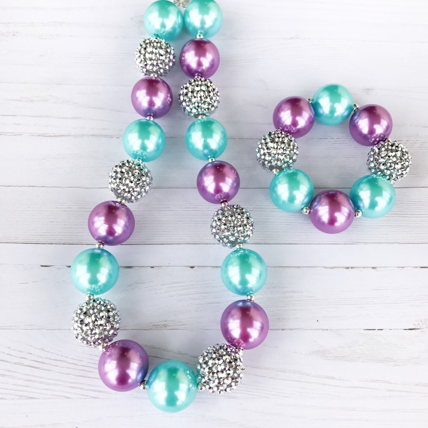 Mermaid Chunky Necklace Blue And Purple Bubblegum Necklace