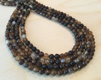 Coffee Agate Faceted Beads 4mm