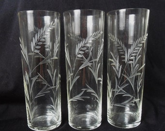 Etched Glass Tumblers x 3  Tall Slim Vintage Glasses Leaves Leaf Fronds