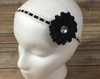 Black single flower headband