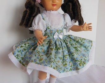 "Green Floral Jumper Style Dress Set for 14"" P90 Ideal Betsy McCall Dolls"