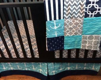 Crib Bedding Set, Navy Blue, Gray and Aqua Blue Chevron, Polka Dots, and Nautical Anchor Designs, Fitted Sheet, Crib Skirt & Minky Blanket