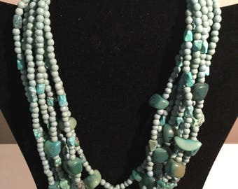 Jay Strongwater 7 Strand Turquoise Stone and Beaded Necklace