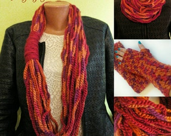 Infinity scarf, crochet scarf, crochet mittens, fingerless gloves, chunky scarf, wool scarf, christmas gift for her, orange, purple