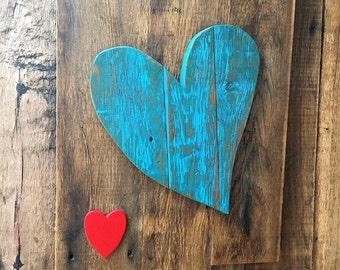 Barn wood Heart, Heart, Reclaimed Wood, Wood Wall Art, Wall Decor, Room Decor, Blue Heart,