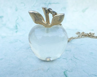 Clear acrylic Apple pendant necklace very dimensional AB788