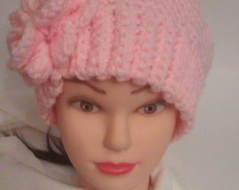Crochet hat, knit hat, womans hat, pink hat winter hat, messy bun hat, flower hat