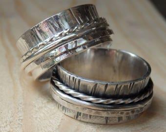 Sterling Silver Hammer Textured Spinner Ring with Three Spinning Rings, Bark Texture Meditative Ring, Fidget Ring