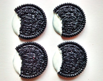 4/8 pcs oreo biscuit cookie candy cabochons NOT EDIBLE  - decoden - food cabs supplies UK hobby crafts scrapbooking