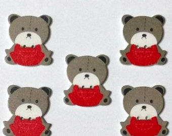 5  Wooden Teddy Bear Buttons - #C00067