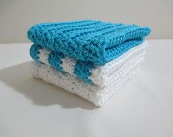 Set of 3 Hand Crochet Washcloths Dishcloths Baby Wash Cloths