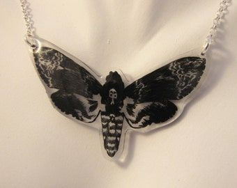 Moth necklace, shrink plastic jewellery, butterfly necklace, insect jewellery, moth pendant, illustration