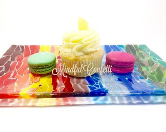 Rainbow of Color! Fused glass tray