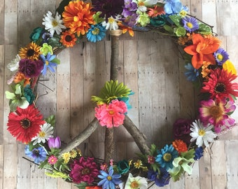 Peace Sign Wreath - Spring has Sprung