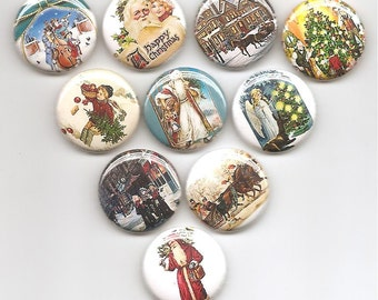 Victorian Christmas Set of 10 Pins Button Badge Pinback