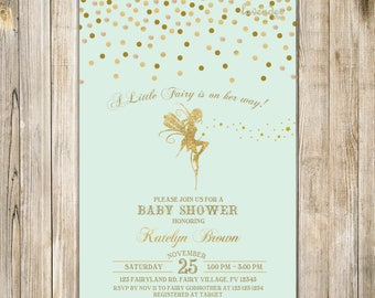 Mint Green Gold FAIRY BABY SHOWER Invitation, A Little Fairy On Her Way Invite, Baby Girl Magical Enchanted Pixie Whimsical Party Fairy Dust