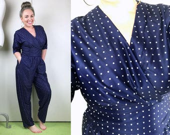 1970s 1980s Navy Blue and White Polka Dot Pants Jumpsuit with Wrap Crossover Top & Tie at Waist // 70s 80s Pants Romper
