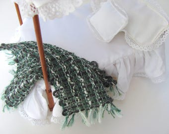 Green Gray Alpaca Cotton 1/12 Scale Dollhouse Miniature Artisan Hand Woven Bed Blanket Throw, Cottage Cabin Doll House Bedroom Decor Bedding