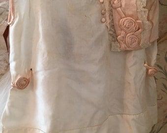Antique Silk Child's Dress And Bonnet