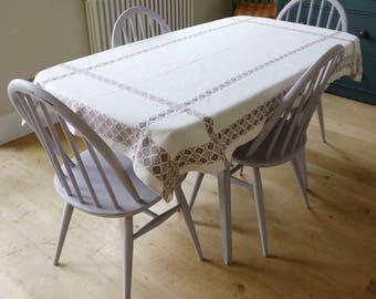 vintage table cloth, kitchen table cloth, German table cloth, vintage decor, antique linen (1230)