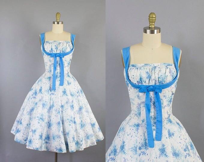 1950s shelf bust sundress/ 50s cole of california cotton floral dress/ SM small medium