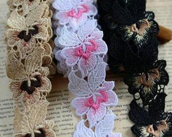 2 Yards Pink Brown Black Venise Flower Lace Trim Fabric for Wedding Bridal Garment Decoration 4cm