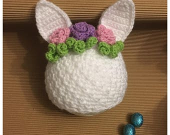 LittleBits Newborn Baby Crocheted Easter Bunny Beanie with Flowers - Made & Posted in Australia