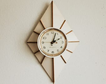 Mid Century General Electric Starburst Wall Clock - Geometric Diamond 1960s Space Age design