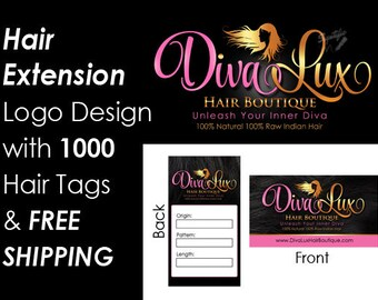 Hair Extensions Business Mini Branding Package, Hair Business Startup package, Logo and 1000 Hair Tags with Free Shipping, Virgin Hair Logo