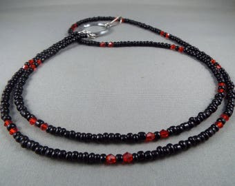 Red and black ID badge holder lanyard necklace , you choose length, great for holding keys, key cards or anything you can hook to it. cute