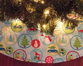 Christmas Tree Skirt-Snowman-Snowmen-Scooter-Moped-Christmas Tree-Snow-Snowflakes-Car-Truck-Christmas Truck-Holiday Decoration-42""