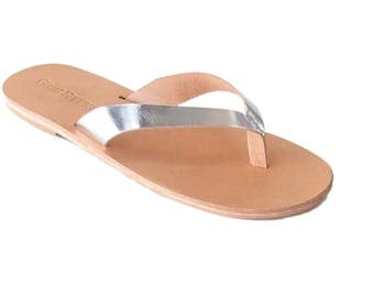 mens leather flip flop sandals dress sandals metallic leather gold silver bronze vegetable tanned leather