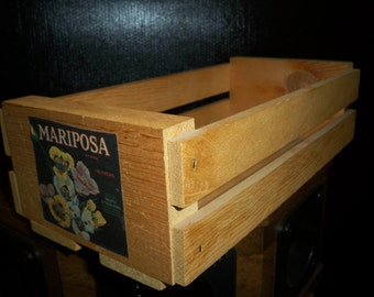 Natural Wood Audio Cassette Tape Storage Crate