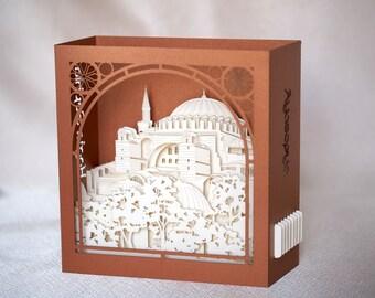 Pop up card Turkey Hagia Sophia Istanbul gift Ayasofya Mosque Muslim gift Muslim Art 3d paper miniature Custom Design Greeting Text Landmark