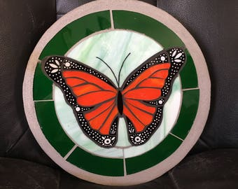 Monarch butterfly stained glass mosaic stepping stone